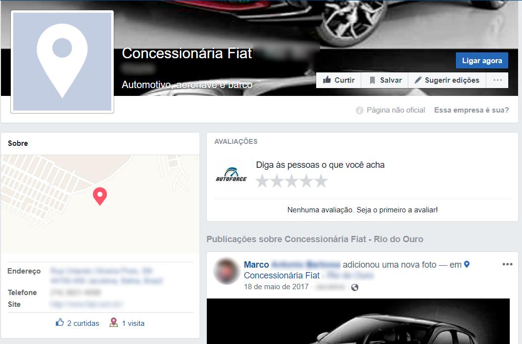 página com localização de concessionária no facebok