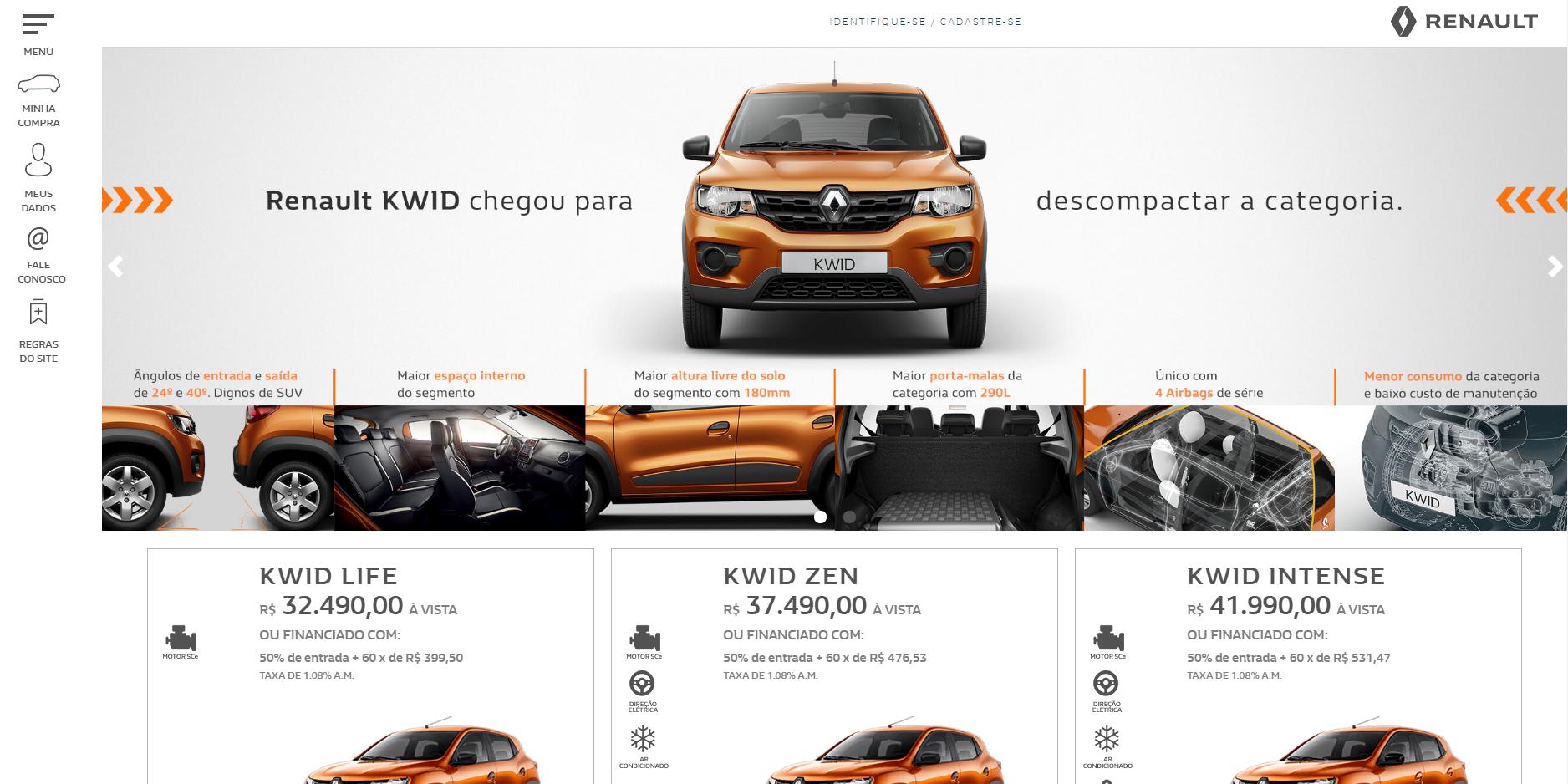 e-commerce de veículos renault kwid