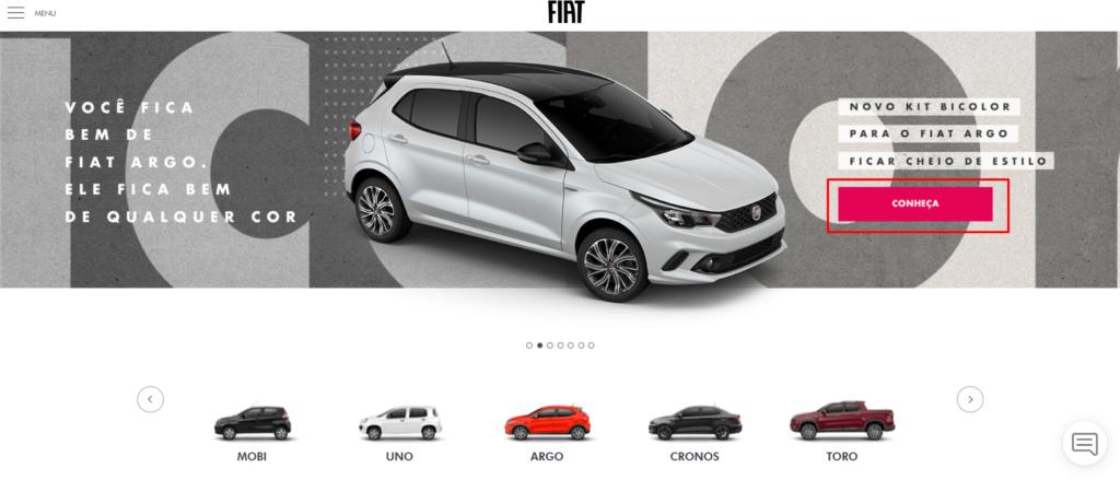 exemplos de ctas no site da fiat 2019