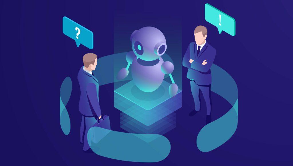 Dois homens de terno de frente um para o outro. No meio deles, vemos um robô virtual.